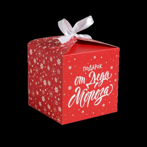 Коробка «С Новым годом. Подарок от деда мороза красная», 12 × 12 × 12 см