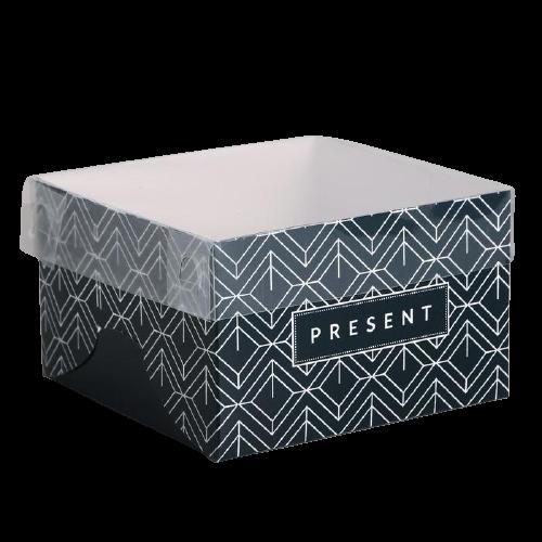 Коробка на 4 капкейка Present черная, 16 × 16 × 10 см