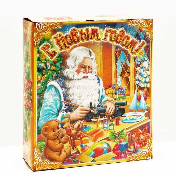 "Подарочная коробка ""Мастерская Деда Мороза"" 19 х 6,5 х 22 см,"