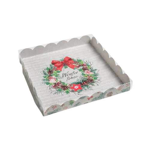 Коробочка для печенья Winter time серая, 21 × 21 × 3 см