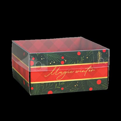 Коробка с пластиковой крышкой Magic winter, 12 х 6 х 11,5 см красно-зеленая