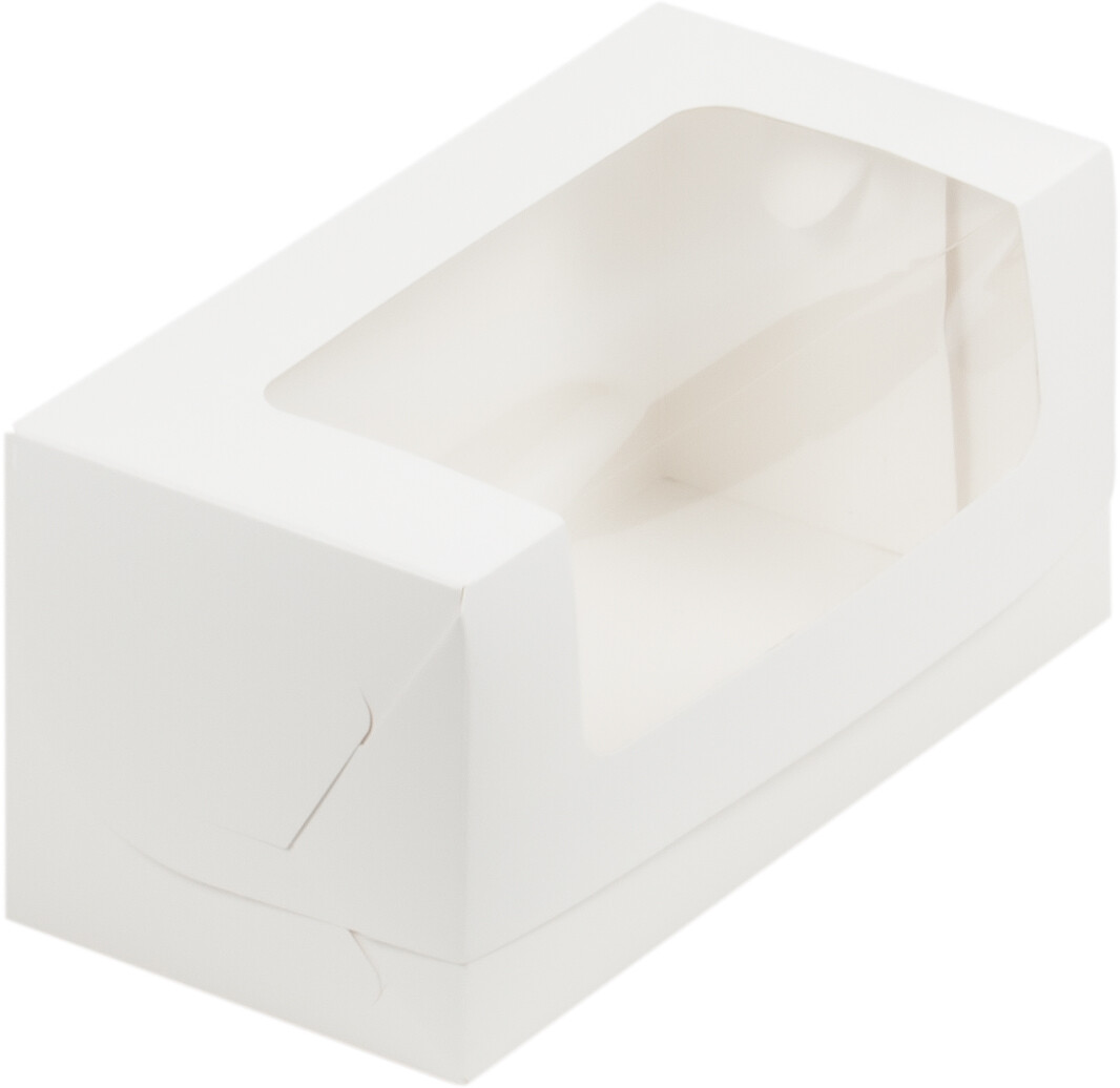 Коробка для кекса белая с окном 200х100х100