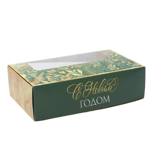 Коробка для эклеров с вкладышами - 4 шт «Праздничная С Новым годом», 25,2 х 15 х 7 см