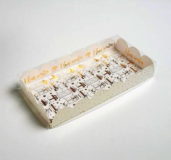 Коробочка для печенья «Снег», 10.5 × 21 × 3 см
