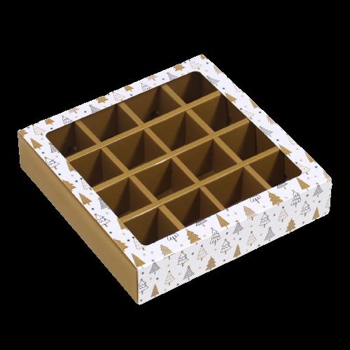 """Коробка для конфет 16 шт """"Новогодние ёлки"""", 17,7 х 17,7 х 3.8 см"""