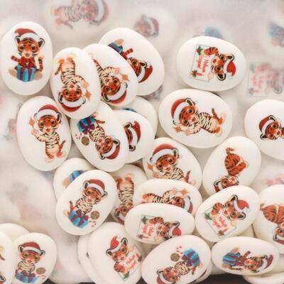 Сахарные медальоны  Тигрята,35х25мм 10 шт