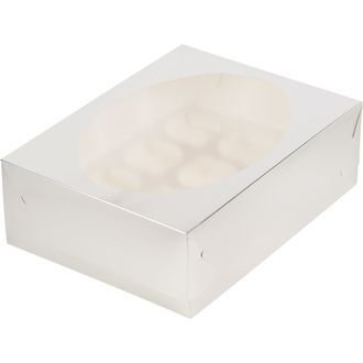 коробка для 12 капкейков серебро 320х235х100