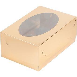коробка для 6 капкейков золото 235х160х100