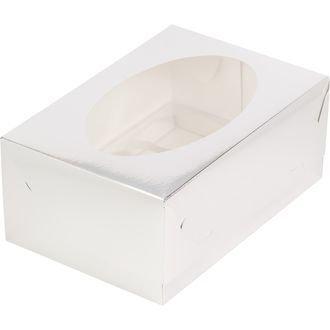 коробка для 6 капкейков серебро 235х160х100