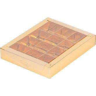 коробка для конфет с пластиковой прозрачной крышкой на 12 конфет золото 190х150х30