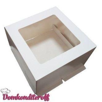 Коробка усиленная для торта гофрокартон с окном   30х30х19 см