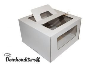 Коробка для торта 24х24х20 с ручками белая