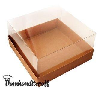 Коробка для торта крафт с прозрачной пластиковой крышкой. Размер 240*240*110
