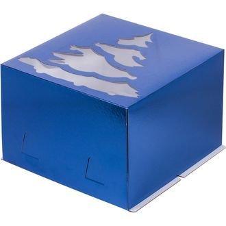 Коробка для торта с окошком Ёлка 28х28х18 синяя