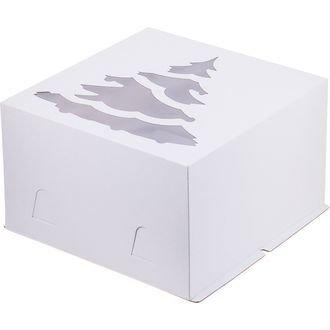 Коробка для торта с окошком Ёлка 30х30х19 белая
