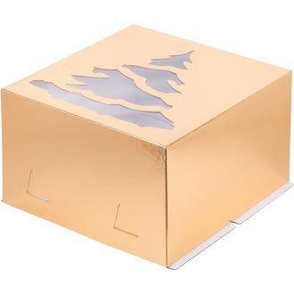Коробка для торта с окошком Ёлка 30х30х19 золото