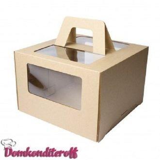 Коробка для торта с ручками крафт 30х30х19