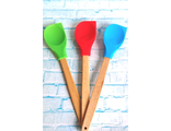 Лопатка-ложка  силиконовая с деревянной ручкой