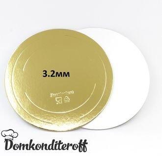 Подложка усиленная двусторонняя золото/жемчуг 3,2 мм. Диаметр 28