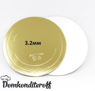 Подложка усиленная двусторонняя золото/жемчуг 3,2 мм. Диаметр 34