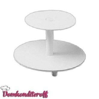 Подставка для торта 2-ярусная: высота - 21см; диаметр блюд - 34, 24см