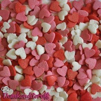 Посыпка сердечки красно-розовые и белые 100 гр