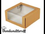 Упаковка крафт с панорамным окном 18х18х7 см