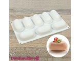 Форма для муссовых десертов, 8 ячеек 30х17,5х3,5 см овал
