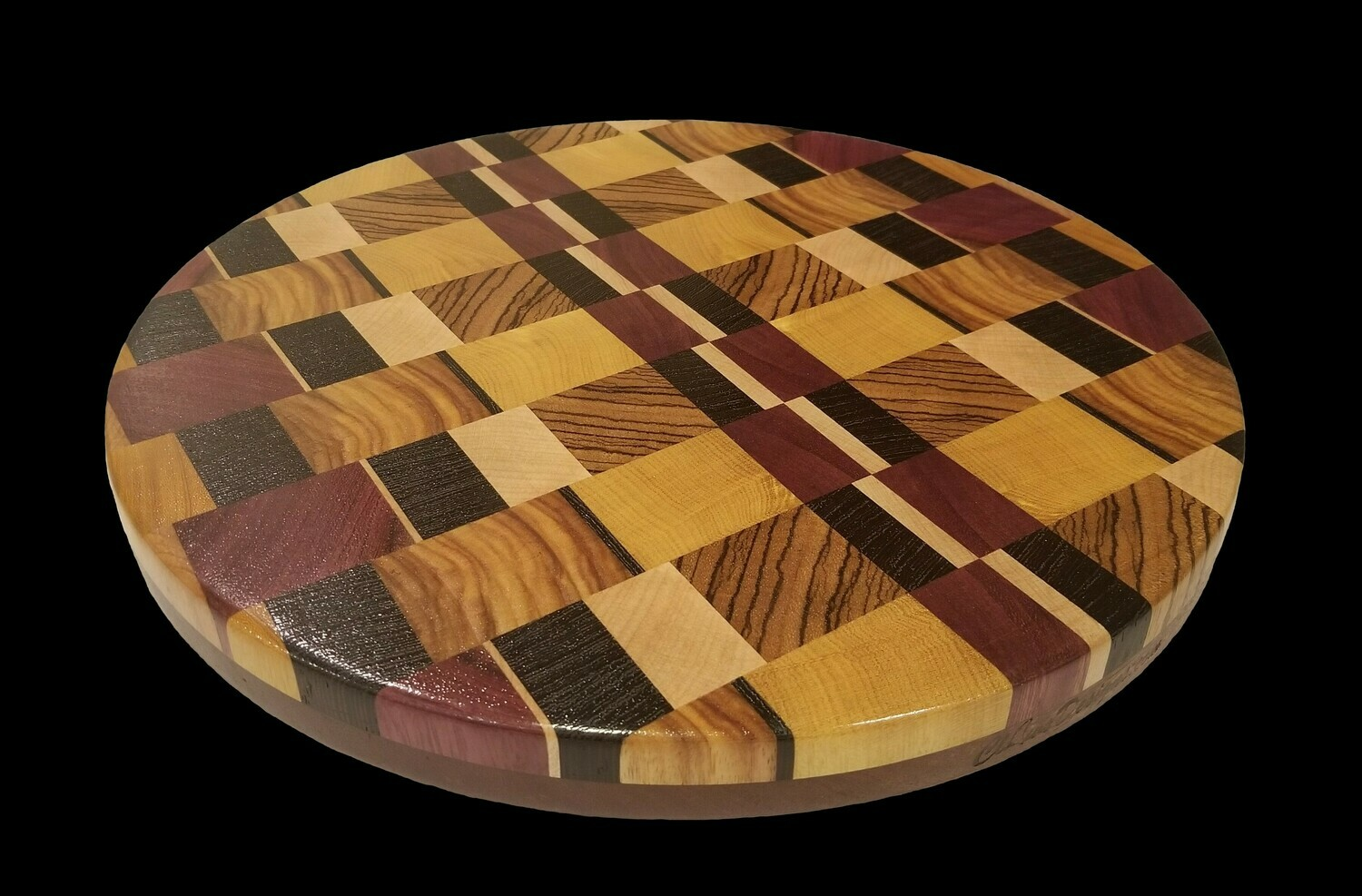 """Cutting Board, 2 Layer, End Grain, 13"""" Round x 1 1/2"""" Thick"""