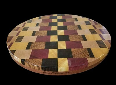 """Cutting Board, 2 Layer, End Grain, 14 1/4"""" Round x 1 1/2"""" Thick"""