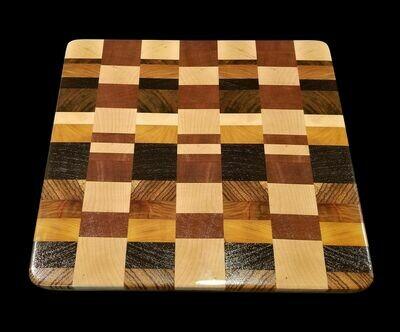 "Cutting Board, 2 Layer, End Grain, 13"" x 12"" x 1 1/2"" Thick"