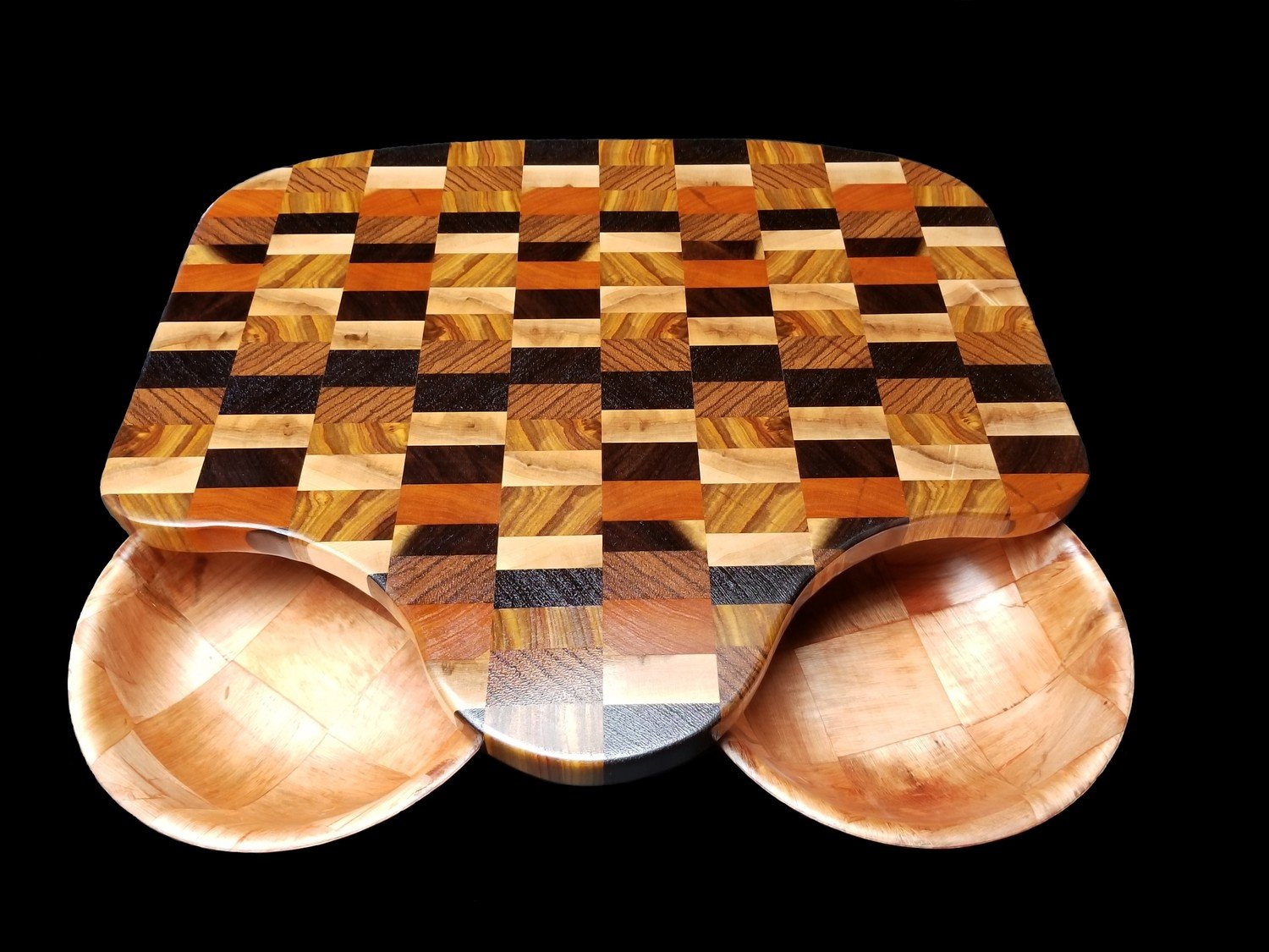 """Cutting Board, w/Cutouts and Bowls, 17 1/2"""" x 15 1/2"""" x 1"""" Thick"""