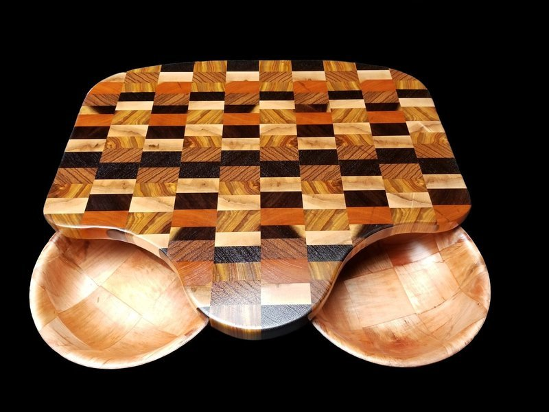 Cutting Board, w/Cutouts and Bowls, 17 1/2