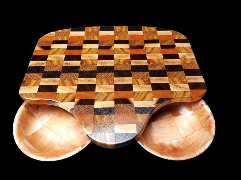 Cutting Board, w/Cutouts and Bowls, 17 1/2
