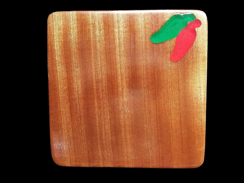 "Cutting Board, Long Grain, 8 3/16"" x 8 3/16"" x 1"" Thick, w/Chili's"