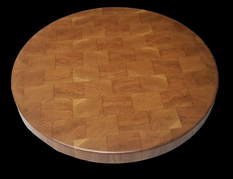 "Cutting Board, Round, , Cherry, End Grain, 15.5"" x 1 1/4"" Thick"
