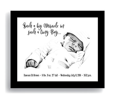 """Miracle"" Boy—Customized Newborn Keepsake DIGITAL DOWNLOAD ONLY (Shown framed)"