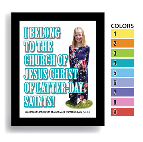 """I Belong"" Girl—Customized Baptism Keepsake FRAMED"
