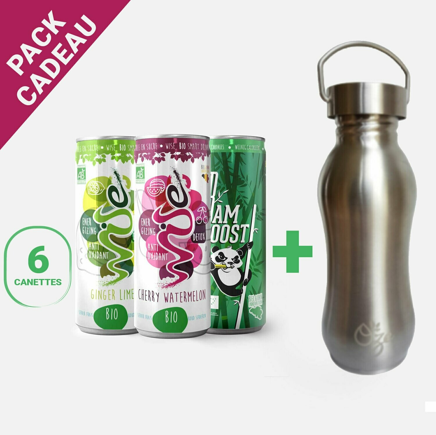 "Le pack ""Convivialité"" : 6 WISE/BAMBOOST + 1 gourde 600ml OZE"
