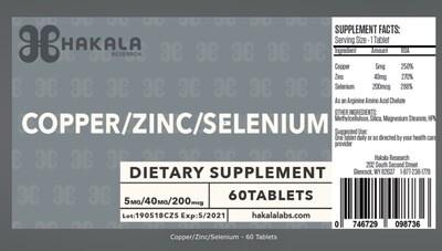 Copper/Zinc/Selenium - 60 Tablets