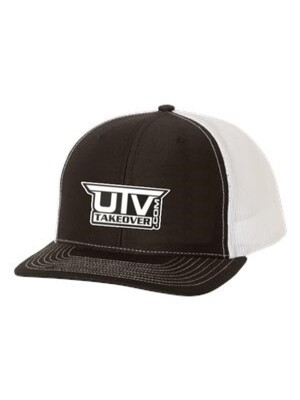 2020 - Hat - Trucker (BLACK AND WHITE WITH WHITE LOGO)