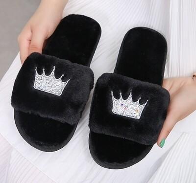 Black Crown Slippers