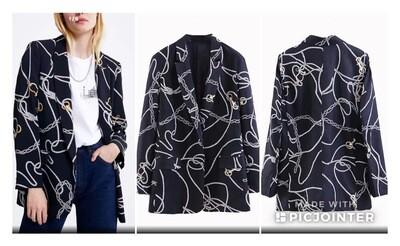Navy chain print blazer