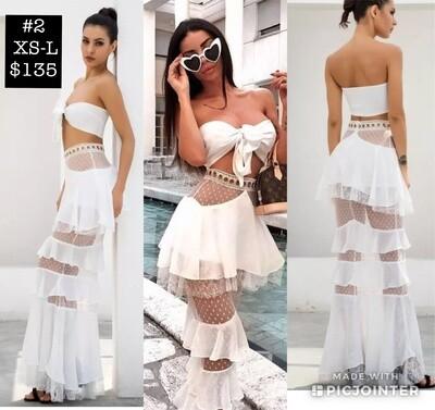 2 piece White Fashion Dress