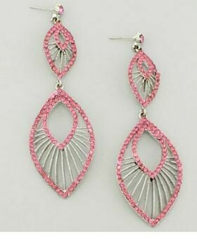 Pink and silver dangle
