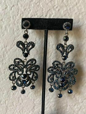 Royal blue pageant earrings