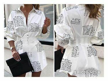 writting shirt dress