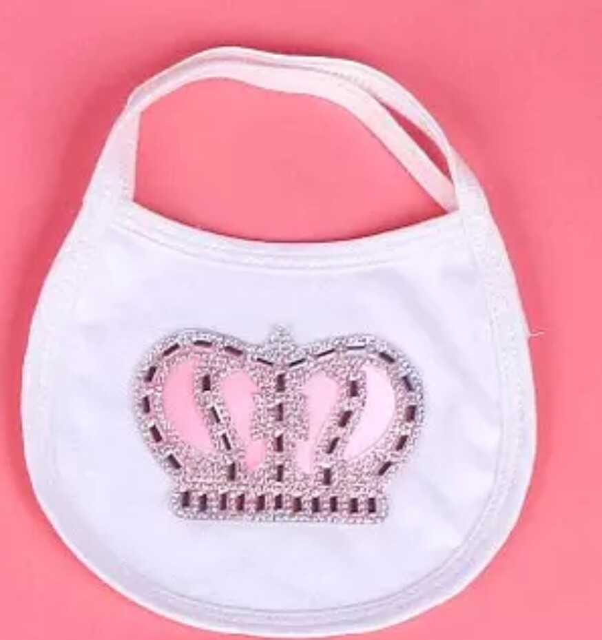 Pink Crown Baby Bib