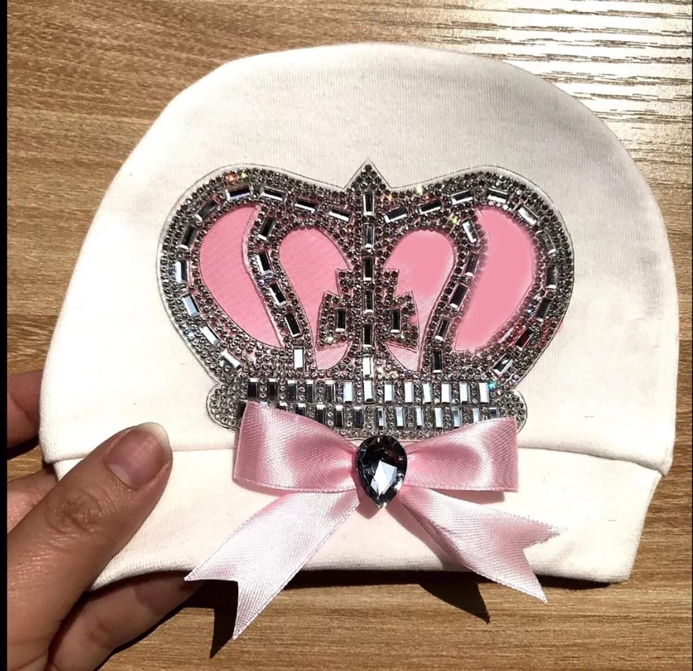 Pink Crown Newborn Hat