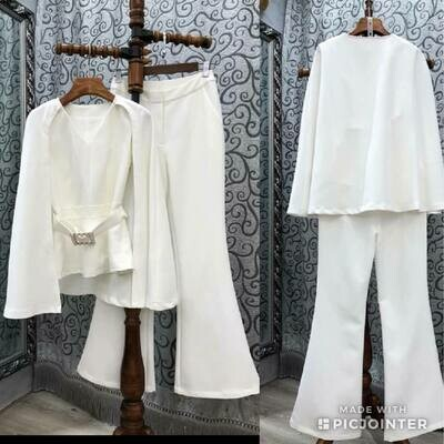 white cape pantsuit